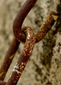 chain in old wall